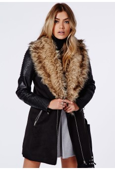 Orla faux fur leather biker sleeve coat- £59